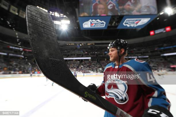 Dominic Toninato of the Colorado Avalanche skates against prior to the game the Nashville Predators in Game Three of the Western Conference First...