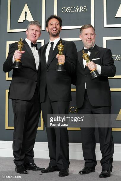 "Dominic Tuohy, Guillaume Rocheron and Greg Butler, winners of the Visual Effects award for ""1917,"" pose in the press room during the 92nd Annual..."