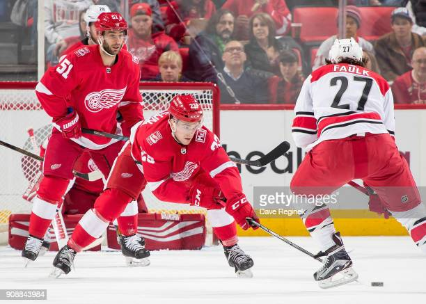 Dominic Turgeon and Frans Nielsen of the Detroit Red Wings defend in front of the net from Justin Faulk of the Carolina Hurricanes during an NHL game...