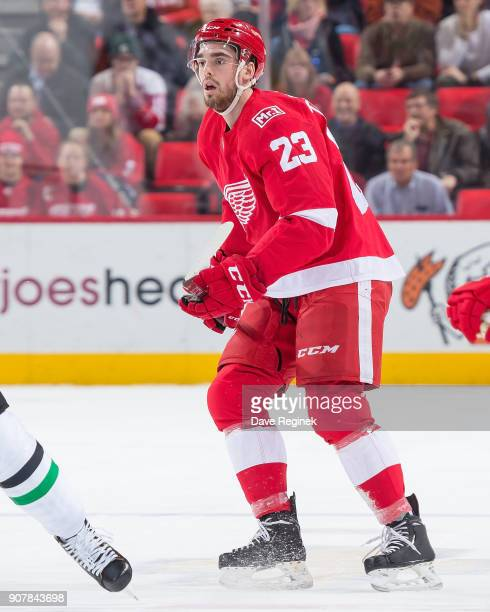 Dominic Turgeon of the Detroit Red Wings follows the play against the Dallas Stars during an NHL game at Little Caesars Arena on January 16 2017 in...