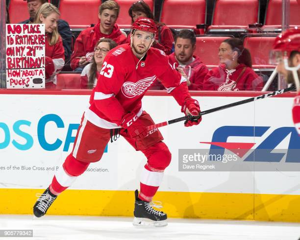 Dominic Turgeon of the Detroit Red Wings skates during warmups prior to an NHL game against the Dallas Stars at Little Caesars Arena on January 16...