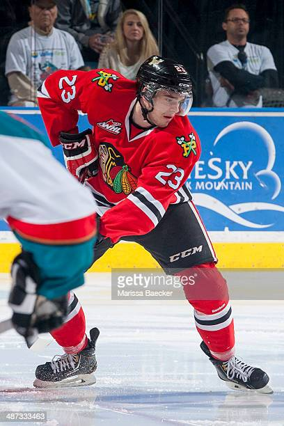 Dominic Turgeon of the Portland Winterhawks skates against the Kelowna Rocketson April 25 2014 during Game 5 of the third round of WHL Playoffs at...