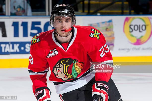 Dominic Turgeon of the Portland Winterhawks skates against the Kelowna Rockets on April 25 2014 during Game 5 of the third round of WHL Playoffs at...