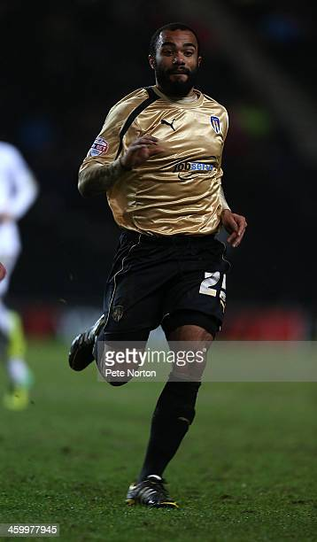 Dominic Vose of Colchester United in action during the Sky Bet League One match between Milton Keynes Dons and Colchester United at Stadium MK on...