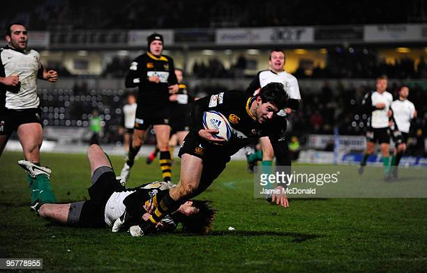 Dominic Waldouck of London Wasps scores a try during the Amlim Challenge Cup, Round Five match between London Wasps and Roma at Adams Park on January...