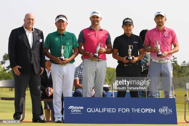 Dominic Wall of RA Shota Akiyoshi of Japan Michael Hendry of New Zealand Masahiro Kawamura and Masanori Kobayashi of Japan of Japan show off The Open...