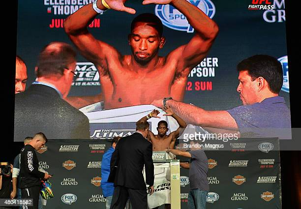 Dominic Water steps onto the scale during the TUF 21 Finale Weighin at the UFC Fan Expo in the Sands Expo and Convention Center on July 11 2015 in...