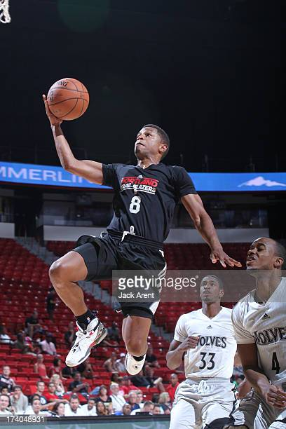 Dominic Waters of the Portland Trailblazers goes up for the layup against the Minnesota Timberwolves during NBA Summer League on July 19 2013 at the...