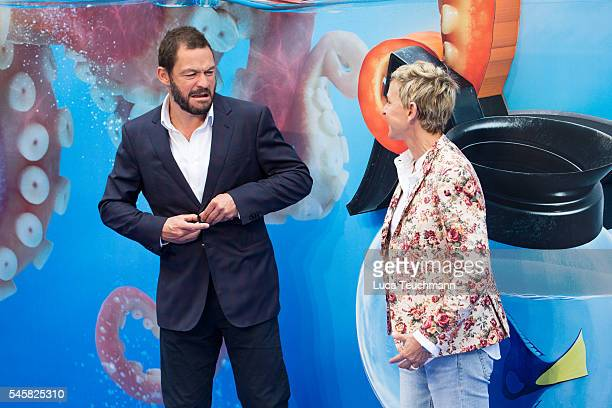 Dominic West and Ellen DeGeneres arrives for the UK Premiere of 'Finding Dory' at Odeon Leicester Square on July 10 2016 in London England