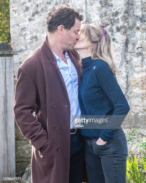 Dominic West and wife Catherine FitzGerald make a statement to press outside their Cotswolds home after Dominic was seen kissing actress Lily James...
