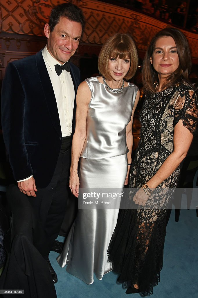 Dominic West, Anna Wintour and Natalie Massenet attend a champagne reception ahead of The London Evening Standard Theatre Awards in partnership with The Ivy at The Old Vic Theatre on November 22, 2015 in London, England.
