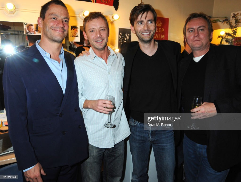 Dominic West, John Simm, David Tennant and Philip Glenister attend the press night of 'Speaking In Tongues', at the Duke of York's Theatre on September 28, 2009 in London, England.