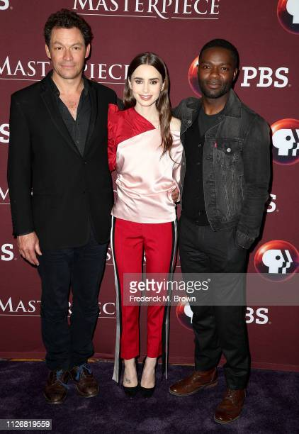 Dominic West Lily Collins and David Oyelowo of the television show Les Miserables attend the PBS segment of the 2019 Winter Television Critics...