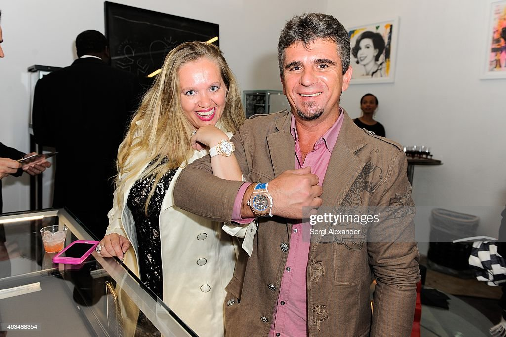 Dominica Horvath and Giuseppi Horvath attend the Fine Art Auction & Guntram von Habsburg Foundation Cocktail Reception Hosted By Hublot & Rhum Clement at SPACEBY3 on February 14, 2015 in Miami, Florida.