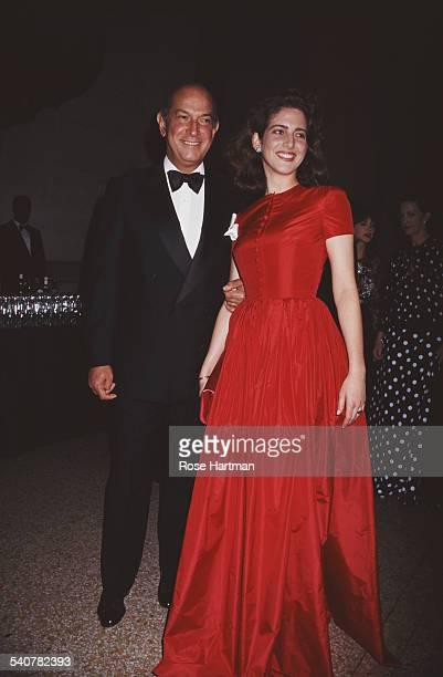 Dominican American fashion designer Oscar de la Renta with his stepdaughter Eliza at a Costume Institute Gala benefit in the Metropolitan Museum of...