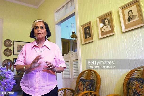 Dominican Dede Mirabal gives explanations at the museum dedicated to her three sisters at the village of Salcedo 150 km north of Santo Domingo on...