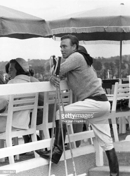 Dominican diplomat Porfirio Rubirosa after a polo match at the millionaires' playground of Deauville Original Publication Picture Post 8674 Deauville...