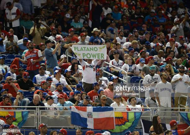 Dominican Fans during a WBC game between the Dominican Republic and the United States in Marlins Park in Miami FL