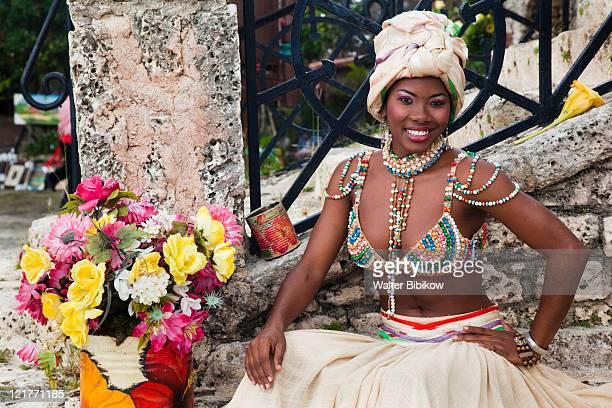 Dominican female dancer in costume, Altos de Chavon, La Romana, Dominican Republic