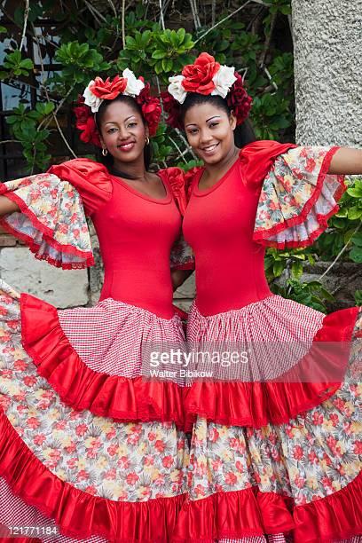 Dominican female dancers in costume, Altos de Chavon, La Romana, Dominican Republic