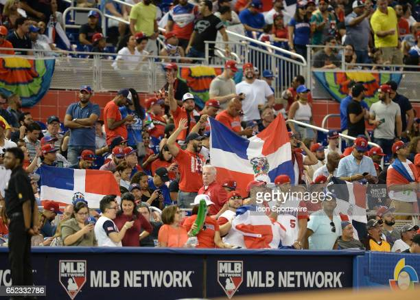 Dominican Flag during the first round pool C World Baseball Classic game between the Dominican Republic and the United States in Marlins Park in...