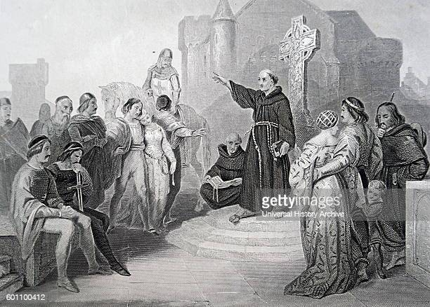 A Dominican Friar preaching a Crusade by Albert Henry Payne a steel engraver painter and illustrator Dated 19th Century