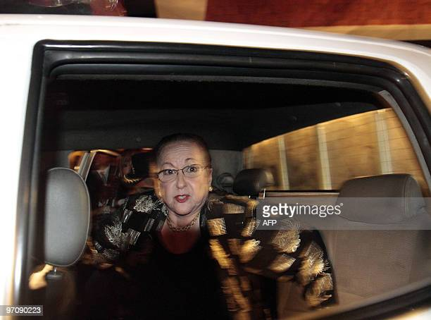 Dominican Julieta Trujillo niece of late Dominican Republic dictator Rafael Trujillo leaves a hotel in Santo Domingo escorted by police officers on...