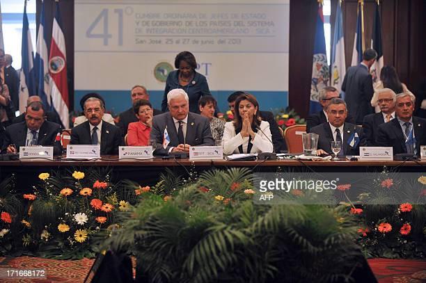 Dominican President Danilo Medina Sanchez Honduras's Porfirio Lobo Panama's Ricardo Martinelli Costa Rica's Laura Chinchilla El Salvador's Mauricio...
