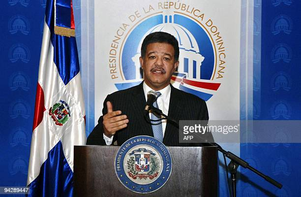 Dominican President Leonel Fernandez answers questions during a press conference at the presidential palace in Santo Domingo on December 11 2009...