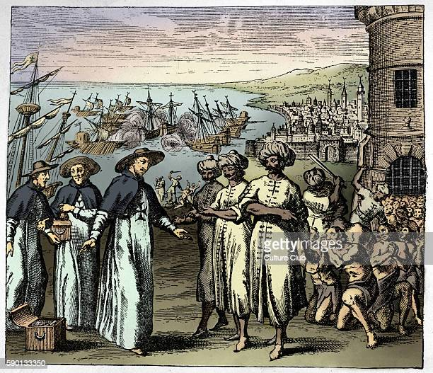 Dominican Priests ask for the liberation of Christian slaves in Algeria Christians taken captive by pirates Caption reads Fathers of the Redemption...