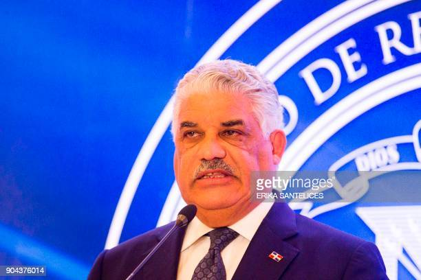 Dominican Republic Foreign Minister Miguel Vargas Maldonado takes part in a press conference after the meeting between Venezuelan government...