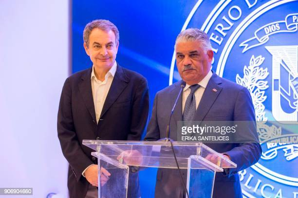 Dominican Republic Foreign Relations Minister Miguel Vargas Maldonado and former Spanish prime minister Jose Luis Rodriguez Zapatero give a press...