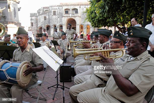 Dominican Republic Santo Domingo Ciudad Colonia Calle el Conde Columbus Plaza a military band performing