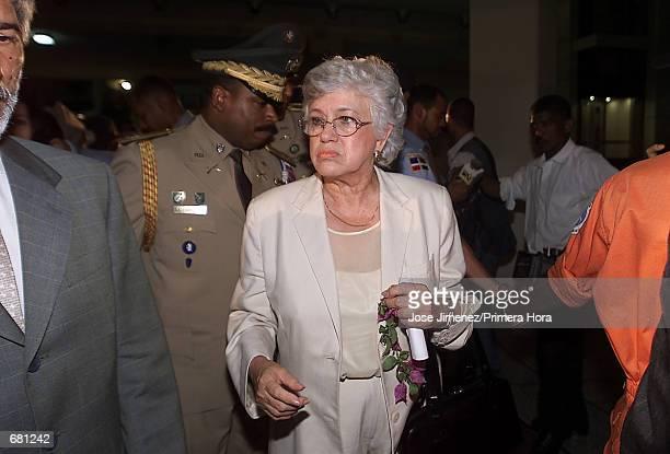 Dominican Republic Vice-President Milagros Ortiz Bosch leaves the Jose Francisco Pena Gomez Airport in Santo Domingo November 12, 2001 after visiting...