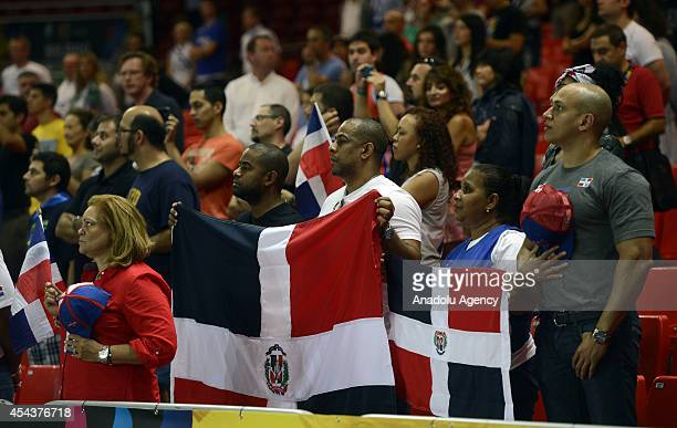 Dominican Republic's fans support their team during the 2014 FIBA World basketball championships group C match Ukraine vs Dominican Republic at the...
