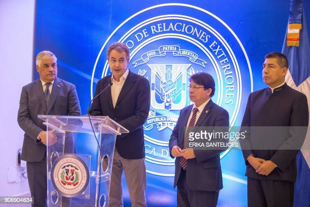 Dominican Republic's Foreign Relations Minister Miguel Vargas Maldonado former Spanish prime minister Jose Luis Rodriguez Zapatero Nicaraguan Foreign...