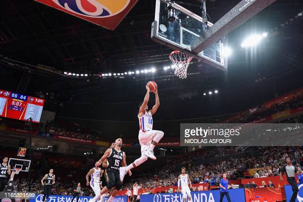 Dominican Republic's Gelvis Solano takes a shot during the Basketball World Cup Group G game between Dominican Republic and Jordan in Shenzhen on...