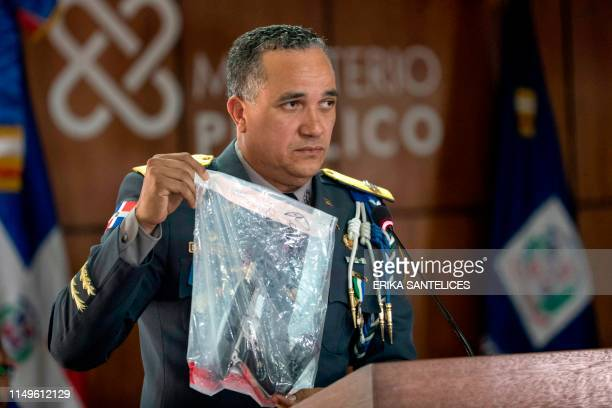 Dominican Republic's National Police Director Ney Aldrin Bautista Almonte delivers a press conference on the attack against former baseball player...
