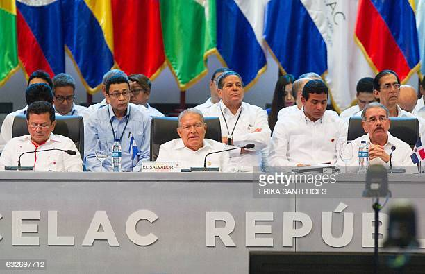 Dominican Republic's President Danilo Medina and Salvadorean President Salvador Sanchez Ceren attend the plenary session during the Fifth Summit of...
