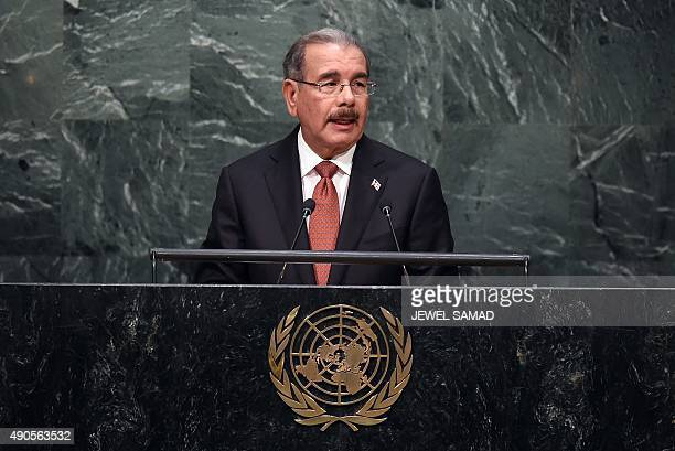 Dominican Republic's President Danilo Medina Sanchez addresses the 70th session of the United Nations General Assembly at the UN in New York on...