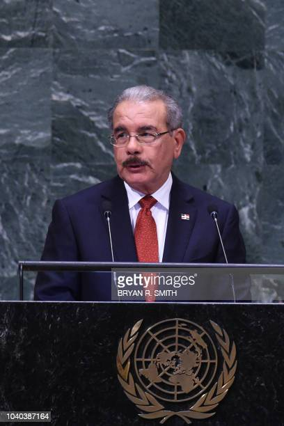 Dominican Republic's President Danilo Medina Sanchez speaks at the General Debate of the 73rd session of the General Assembly at the United Nations...