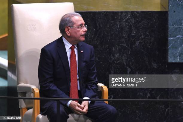 Dominican Republic's President Danilo Medina Sanchez waits to speak at the General Debate of the 73rd session of the General Assembly at the United...