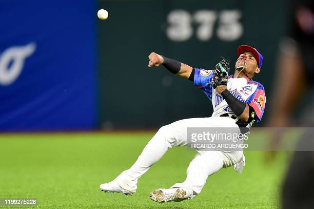 Dominican Republic's shortstop Jorge Mateo throws to first base after fielding a ground ball during the Caribbean Series baseball tournament...