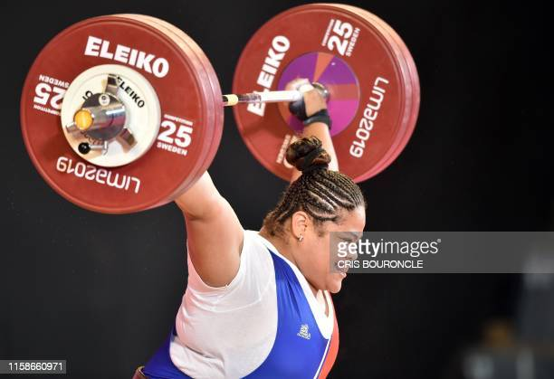 Dominican Republic's Veronica Saladin competes in the Weightlifting Women's +87 kg Group A event during the Lima 2019 Pan-American Games in Lima, on...