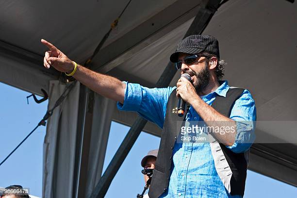 Dominican singer songwriter and selfproducer Juan Luis Guerra performs during day 3 of the 41st annual New Orleans Jazz Heritage Festival at the Fair...