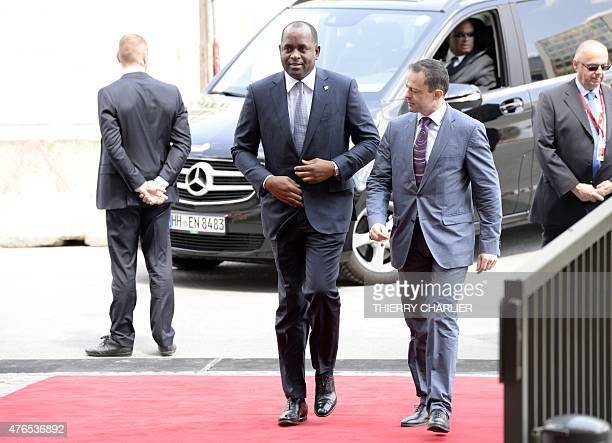 Dominica's Prime minister Roosevelt Skerrit arrives for an EUCELAC summit in Brussels on June 10 2015 at the European Union headquarters in Brussels...