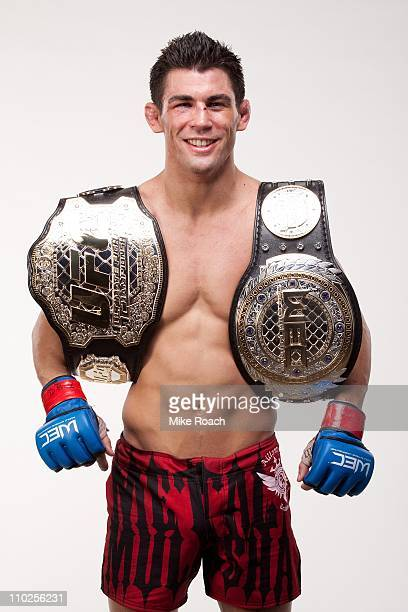 Dominick Cruz poses for a portrait backstage after defeating Scott Jorgensen at WEC 53 on December 16 2010 in Glendale Arizona
