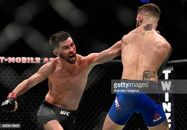 Dominick Cruz punches Cody Garbrandt in their UFC bantamweight championship bout during the UFC 207 event at TMobile Arena on December 30 2016 in Las...