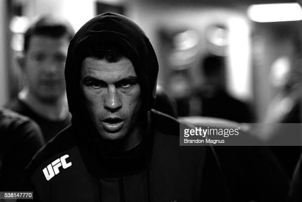 Dominick Cruz walks to the Octagon for his fight against Urijah Faber during the UFC 199 event at The Forum on June 4 2016 in Inglewood California