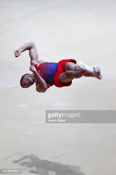 Dominick Cunningham of Great Britain competes in Floor Exercise during the Men's Gymnastics Final on Day Eleven of the European Championships Glasgow...